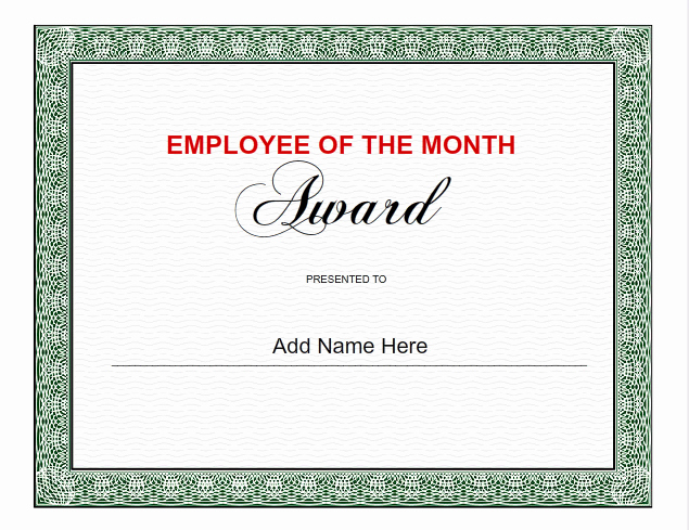 Employee Of the Month Template Fresh Employee Certificates Use I Nprint Certificate Templates
