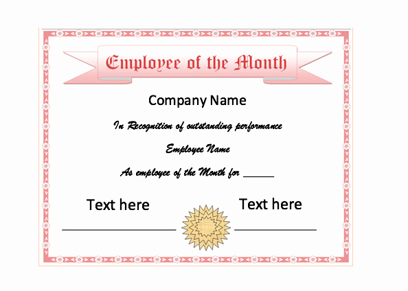 Employee Of the Month Template Inspirational Employee the Month Certificate