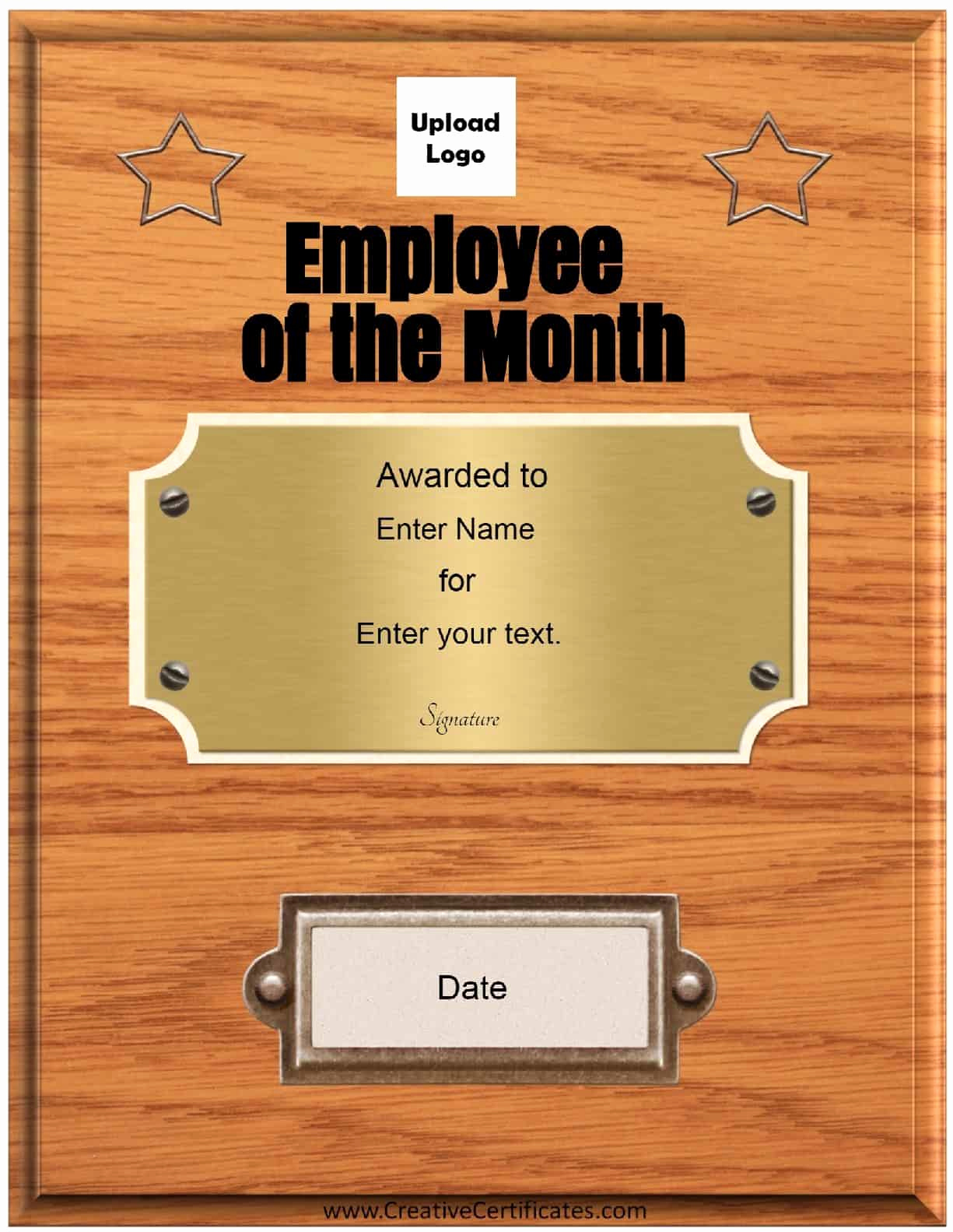 Employee Of the Month Template Luxury Free Custom Employee Of the Month Certificate