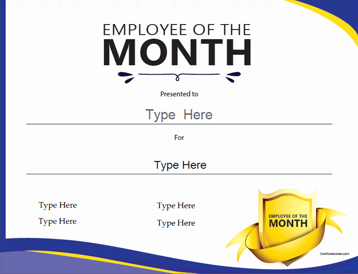 Employee Of the Month Template New Certificate Street Free Award Certificate Templates No
