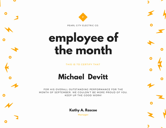 Employee Of the Month Template New Customize 1 508 Employee the Month Certificate