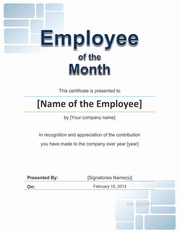 Employee Of the Month Template New Employee Award Cetificate
