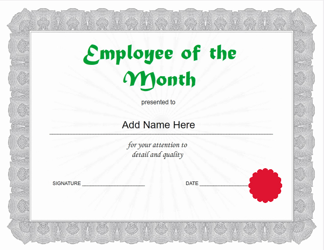 Employee Of the Month Template New Employee Certificates Use I Nprint Certificate Templates