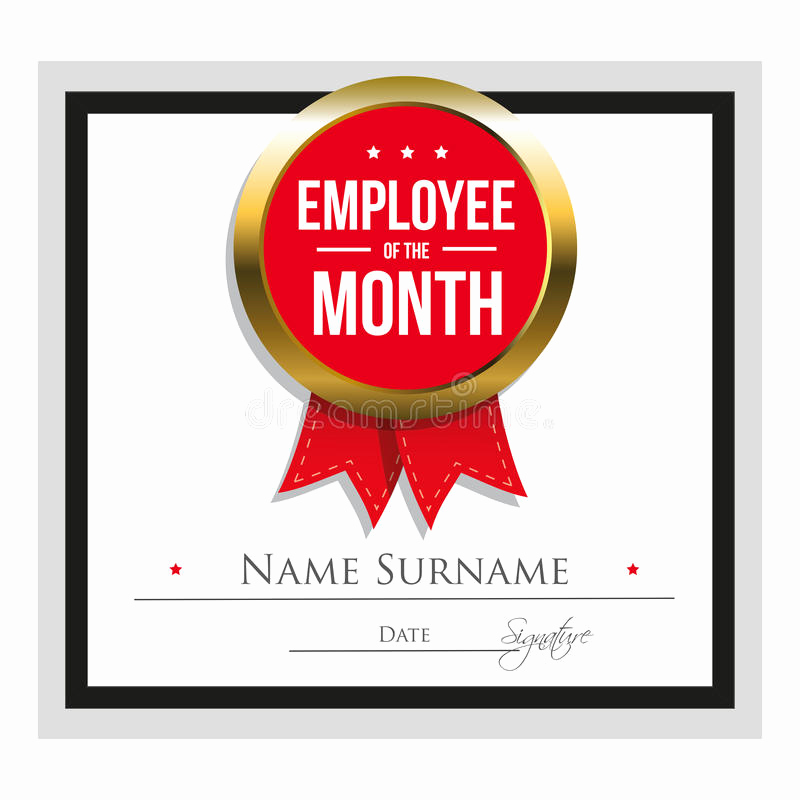 Employee Of the Month Template New Employee the Month Certificate Template Stock Vector