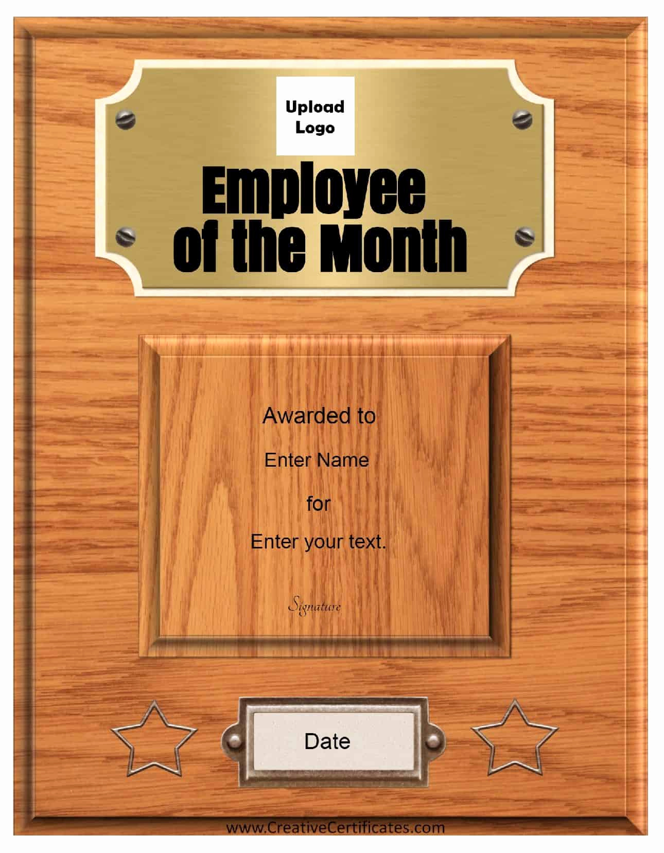 Employee Of the Month Template New Free Custom Employee Of the Month Certificate