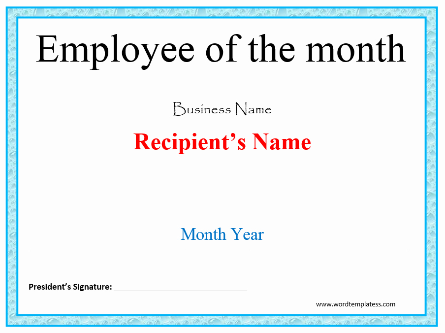 Employee Of the Month Template New Merit Award Certificate Template