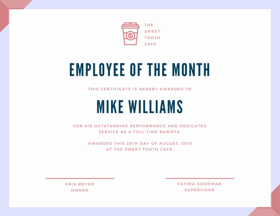 Employee Of the Month Template Unique Customize 1 508 Employee the Month Certificate