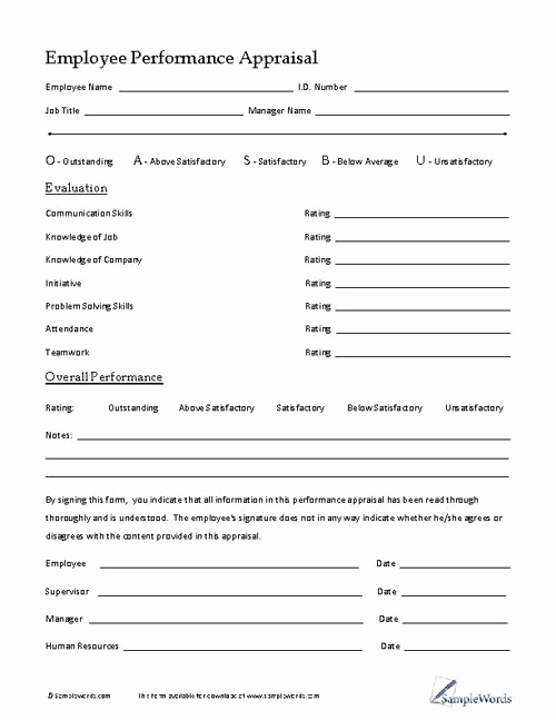 Employee Performance Evaluation form Best Of Employee Performance Appraisal