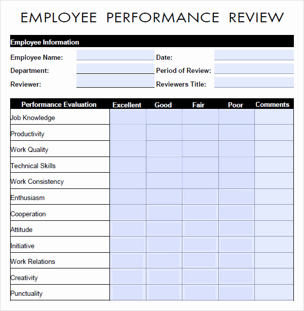Employee Performance Evaluation form Inspirational Performance Evaluation 9 Download Free Documents In Pdf