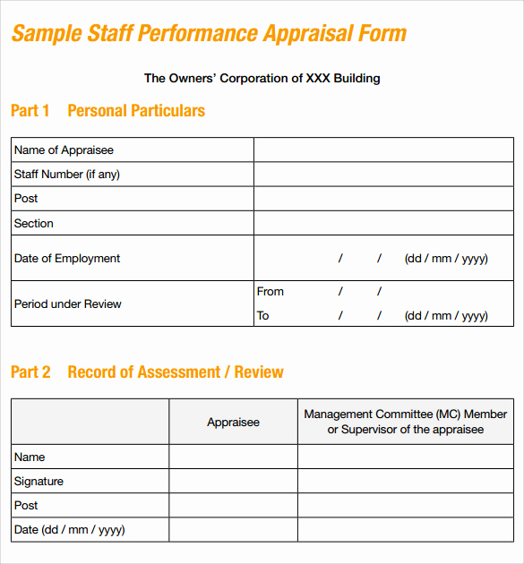 Employee Performance Evaluation format Awesome Sample Job Performance Evaluation form 7 Documents In