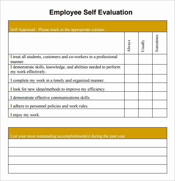 Employee Performance Evaluation format Best Of 16 Sample Employee Self Evaluation form Pdf Word Pages