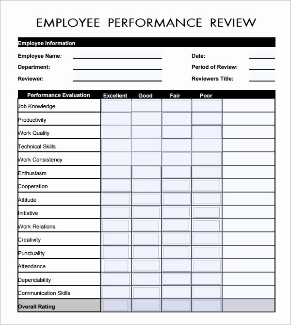 Employee Performance Evaluation format Best Of Employee Evaluation form Pdf