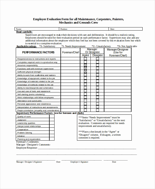 Employee Performance Evaluation format Elegant Employee Evaluation form Example 13 Free Word Pdf