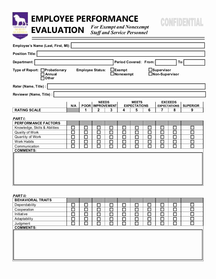 Employee Performance Evaluation format Elegant Employee Performance Evaluation form