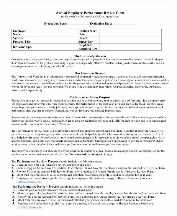 Employee Performance Evaluation format Fresh Performance Review Example 8 Samples In Pdf Word