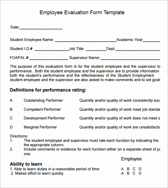 Employee Performance Evaluation format Luxury Employee Evaluation form Sample – 13 Free Examples format