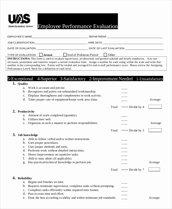 Employee Performance Evaluation format New 8 Performance Evaluation Samples and Templates