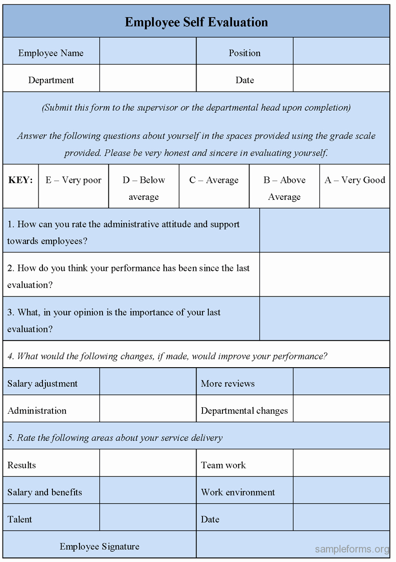 Employee Performance Evaluation forms Beautiful Employee Self Evaluation form Sample forms