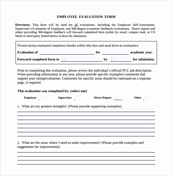 Employee Performance Evaluation forms New 13 Employee Evaluation form Sample – Free Examples