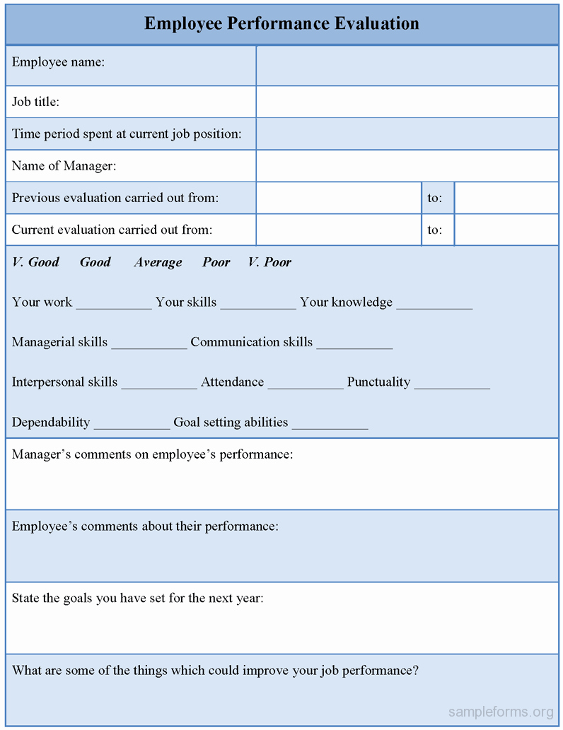 Employee Performance Evaluation forms New Employee Performance Evaluation form Sample forms