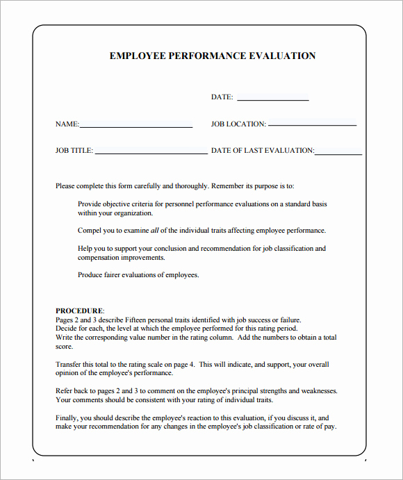 Employee Performance Evaluation forms New Job Performance Evaluation 10 Download Documents In Pdf