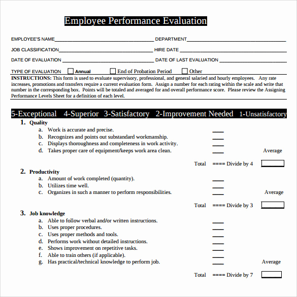Employee Performance Evaluation Samples Best Of Performance Evaluation form 9 Free Samples Examples