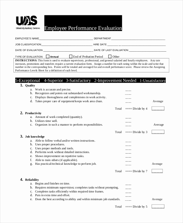Employee Performance Evaluation Samples Best Of Sample Job Evaluation form 10 Free Documents In Word