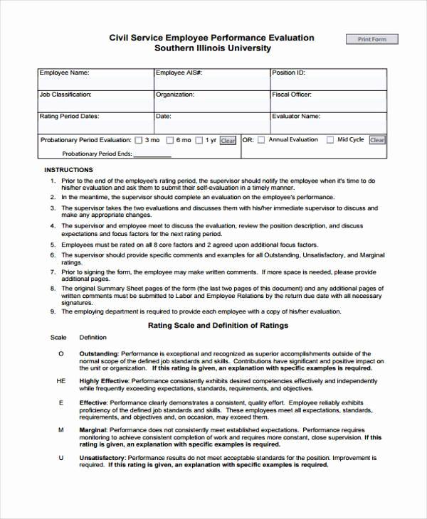 Employee Performance Evaluation Samples Elegant 9 Employee Performance Evaluation form Samples Free