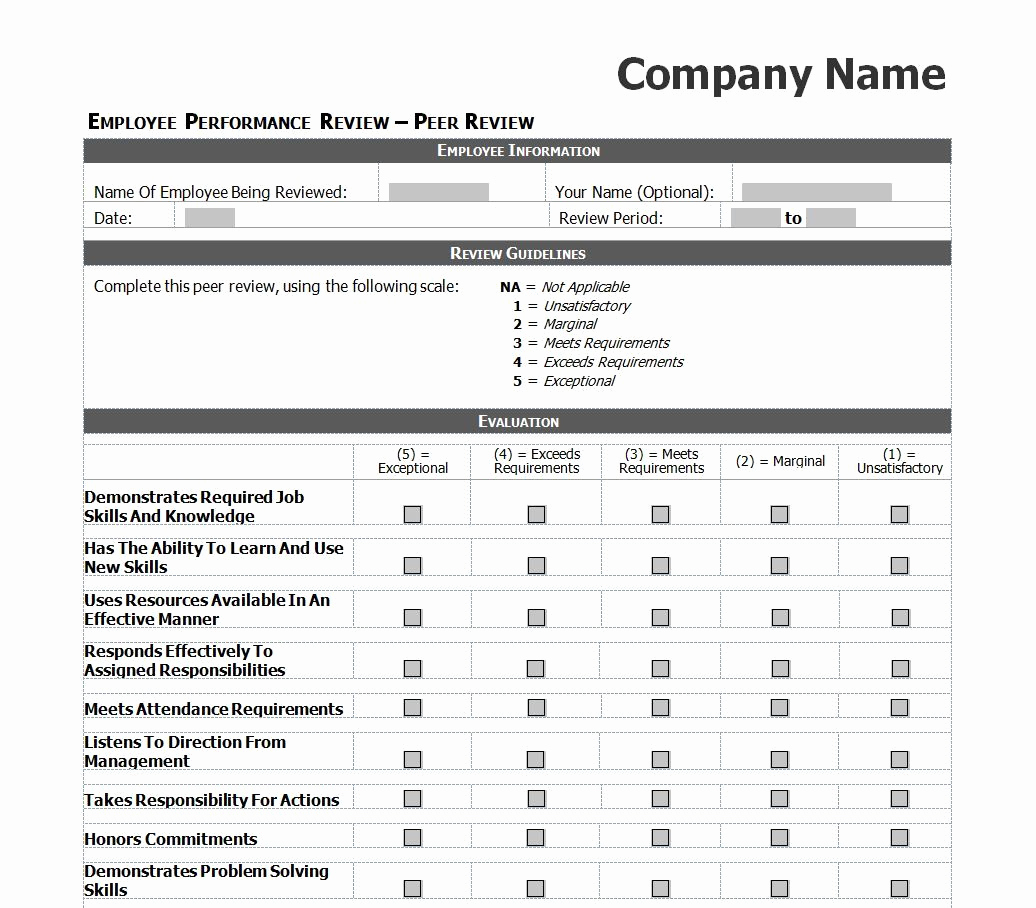 Employee Performance Evaluation Samples Fresh Employee Evaluation Template Excel Images