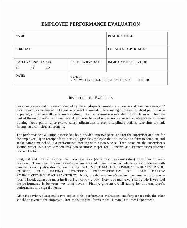Employee Performance Evaluation Samples Fresh Sample Work Performance Evaluation 6 Documents In Pdf
