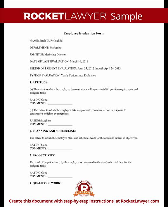 Employee Performance Evaluation Samples Inspirational Employee Evaluation form Employee Performance Appraisal