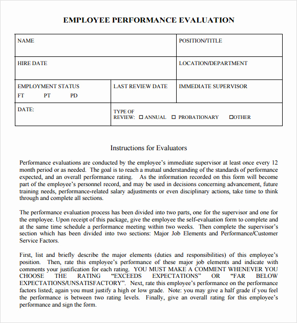 Employee Performance Evaluation Samples Lovely Performance Evaluation Samples Templates Examples 7