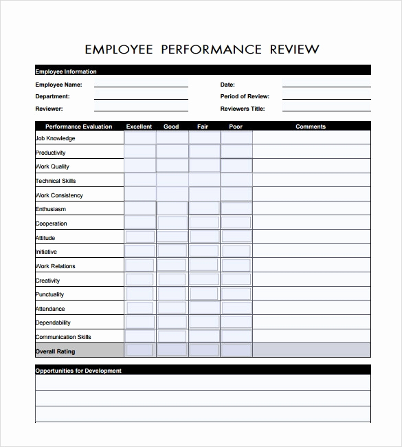 Employee Performance Evaluation Template Awesome 7 Employee Review Templates – Pdf Doc