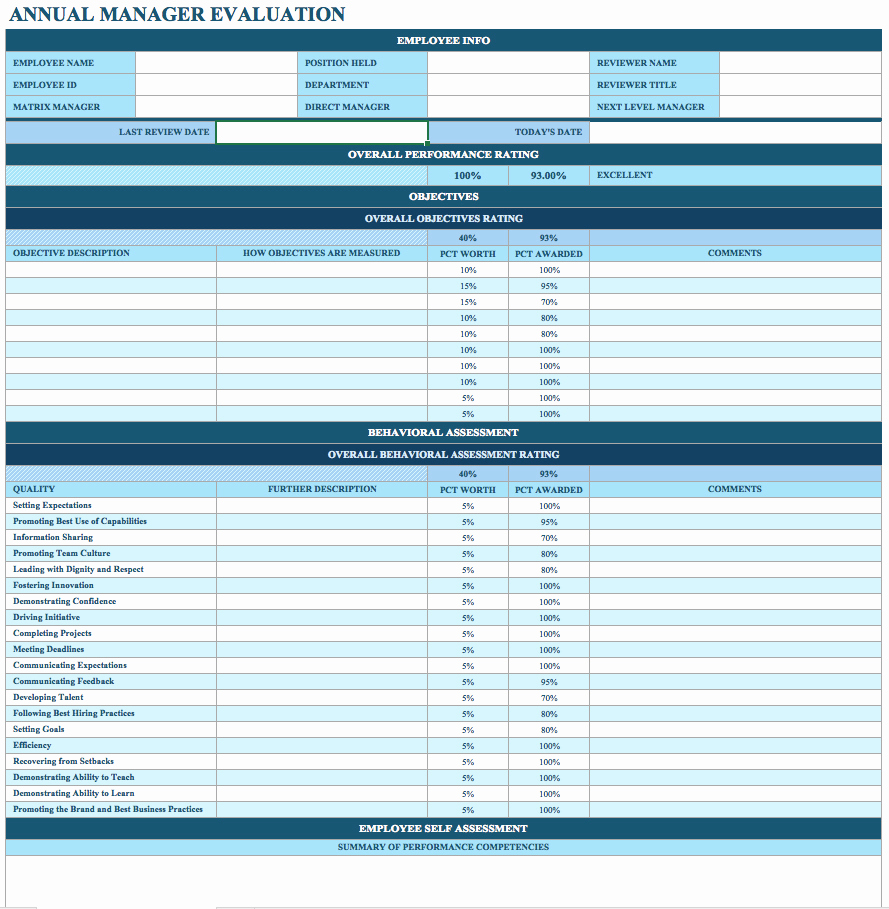 Employee Performance Evaluation Template Awesome Employee Performance Review Template