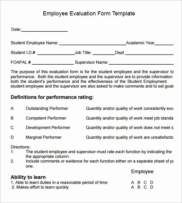 Employee Performance Evaluation Template Fresh 13 Employee Evaluation form Sample – Free Examples