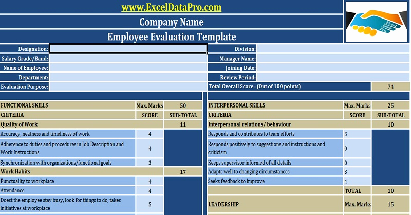 Employee Performance Evaluation Template Luxury Download Employee Performance Evaluation Excel Template