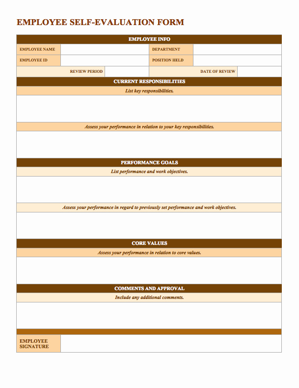 Employee Performance Evaluation Template Luxury Free Employee Performance Review Templates Smartsheet