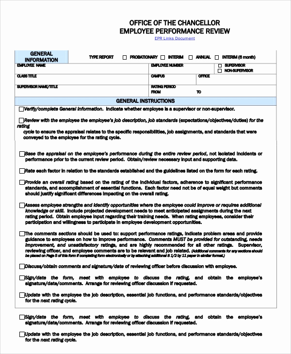 Employee Performance Evaluation Template Unique 8 Sample Employee Performance Reviews