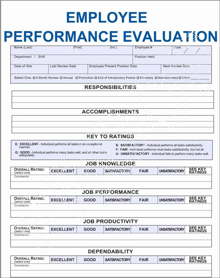 Employee Performance Evaluations forms Beautiful Job Performance Evaluation Frompo 1