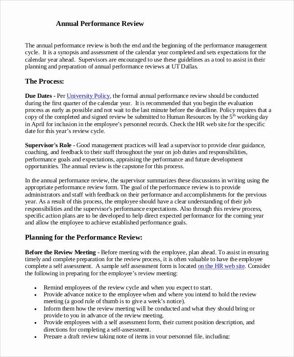 Employee Performance Review Sample Beautiful 8 Sample Performance Reviews