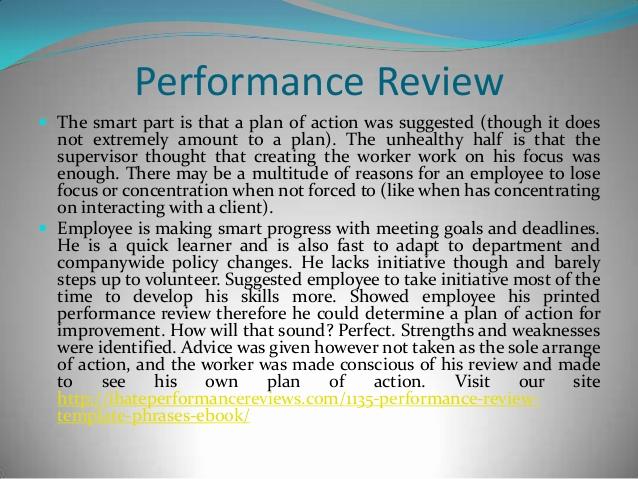 Employee Performance Review Sample Elegant Employee Performance Review Evaluation Good Examples