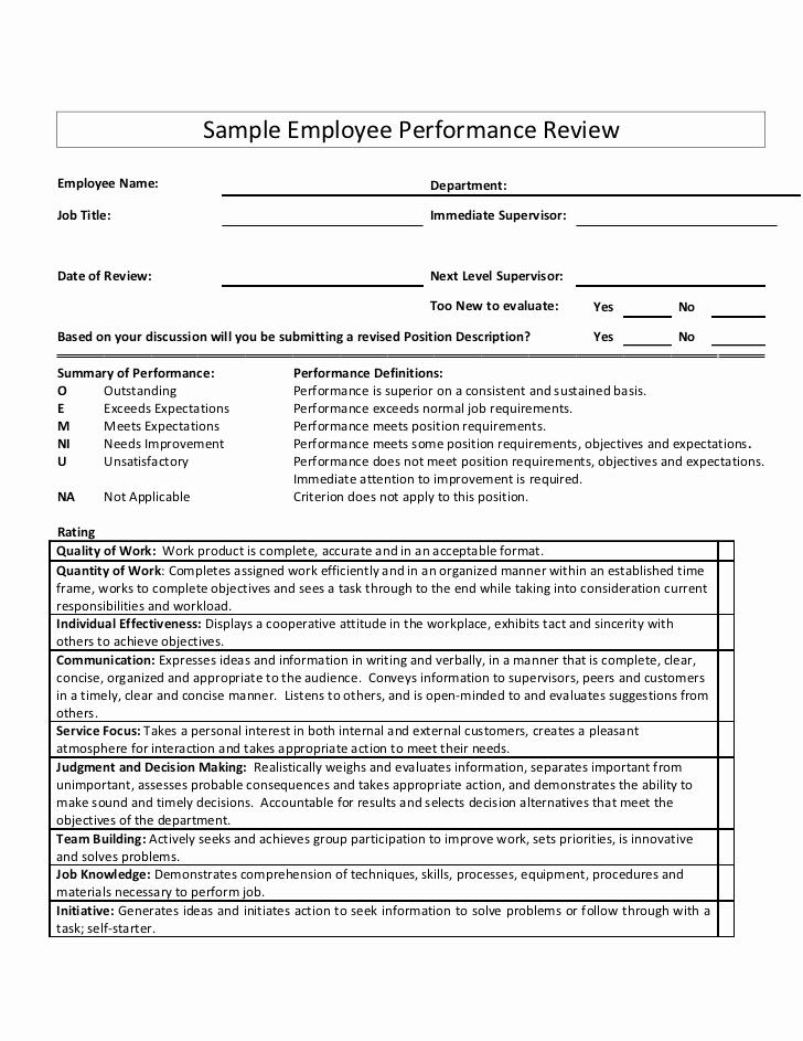 Employee Performance Review Sample Fresh Sample Employee Performance Review