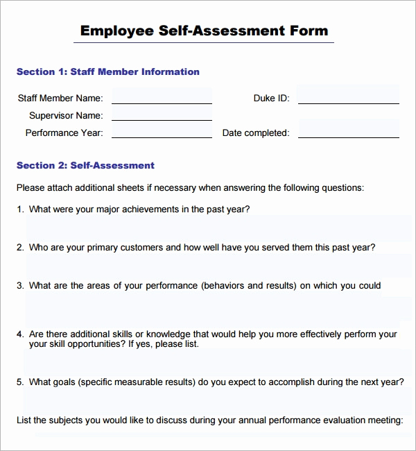 Employee Performance Review Sample Inspirational Sample Employee Self Evaluation form 16 Free Documents