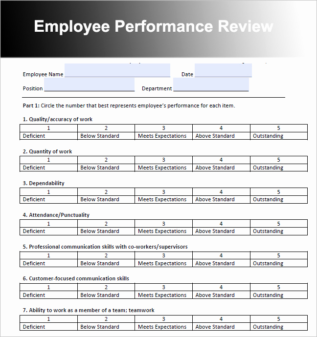 Employee Performance Review Template Word Awesome 26 Employee Performance Review Templates Free Word Excel
