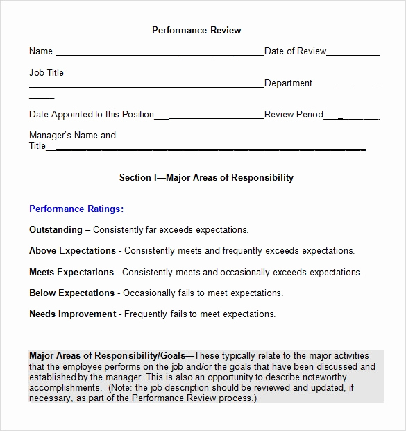 Employee Performance Review Template Word Best Of Performance Review Template 7 Download Documents In Pdf