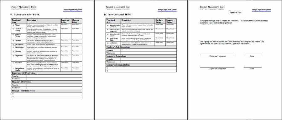 Employee Performance Review Template Word Elegant Employee Annual Review Template Project Management Docs