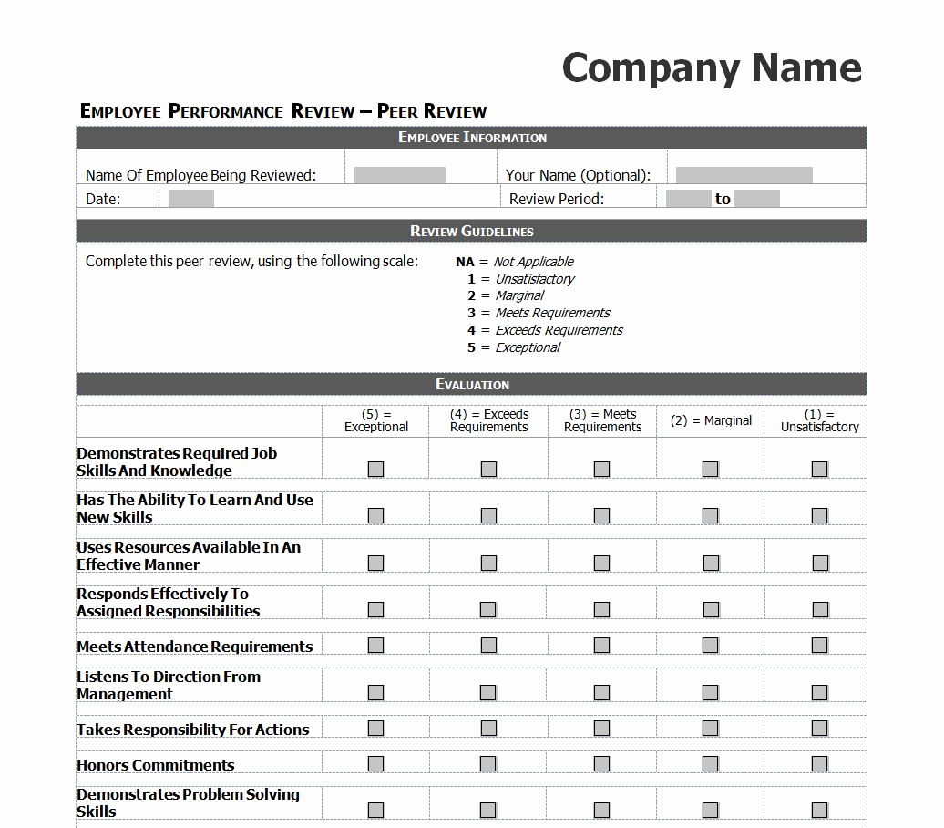 Employee Performance Review Template Word Elegant Employee Performance Review Checklist