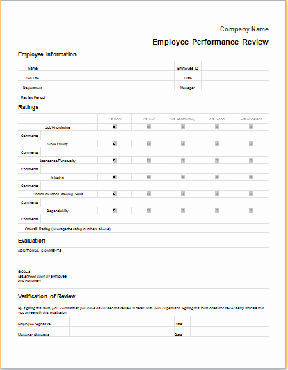 Employee Performance Review Template Word Fresh Employee Performance Review form for Word