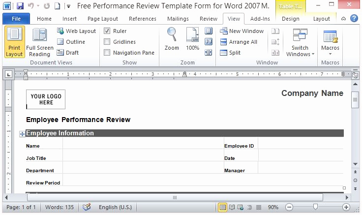 Employee Performance Review Template Word Fresh Free Performance Review Template form for Word 2007