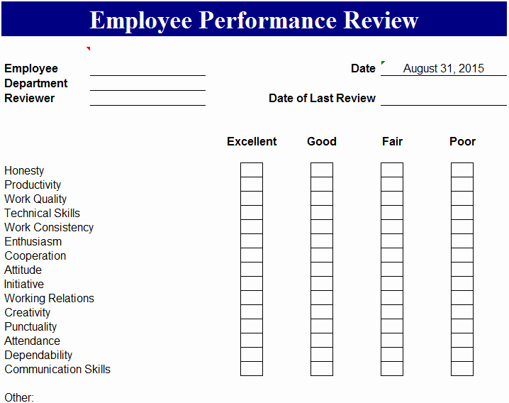 Employee Performance Review Template Word Inspirational Employee Performance Review Template My Excel Templates